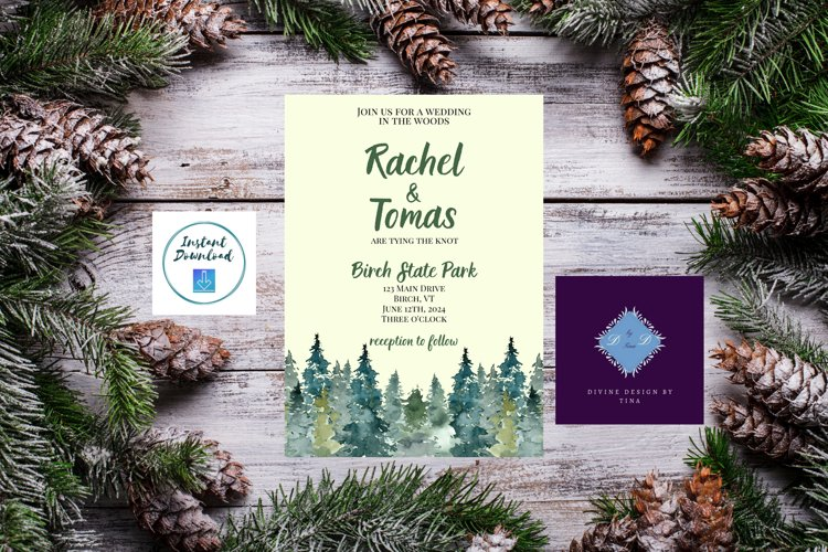 Watercolor Wooded Forest Wedding Invitation