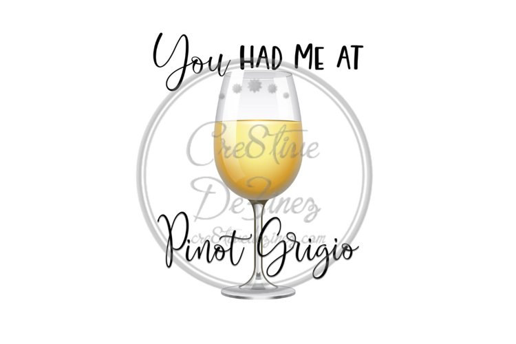 You Had Me at Pinot Grigio- Wine Drink Pun - Sublimation example image 1