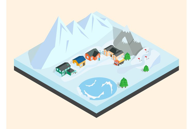 Mountain town clip art, isometric style example image 1