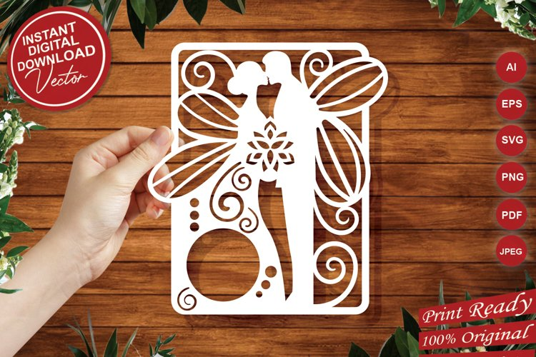 Papercut Wedding Couple with Butterfly Wings, Invitation Art example image 1