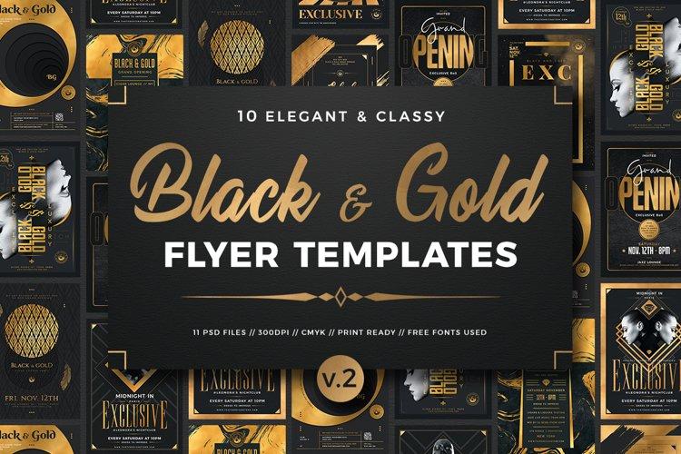 10 Black and Gold Flyers Bundle V2