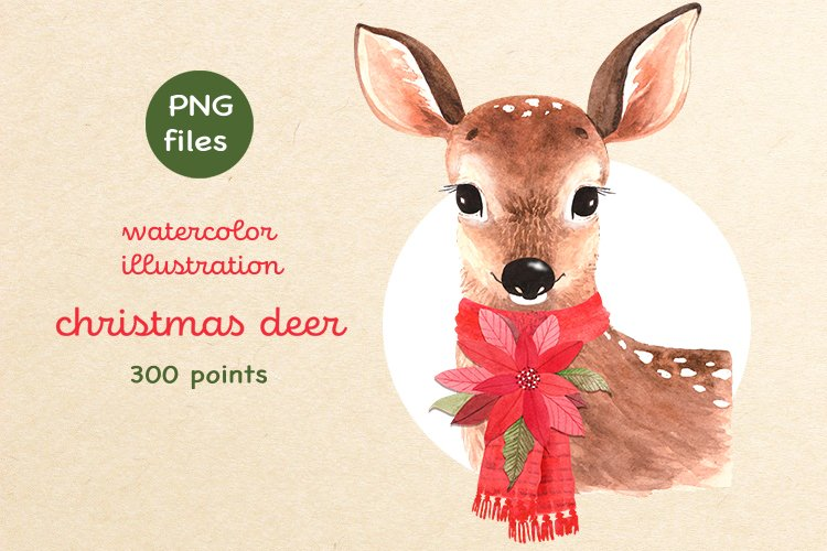 watercolor illustration of cute christmas deer with red scar example image 1