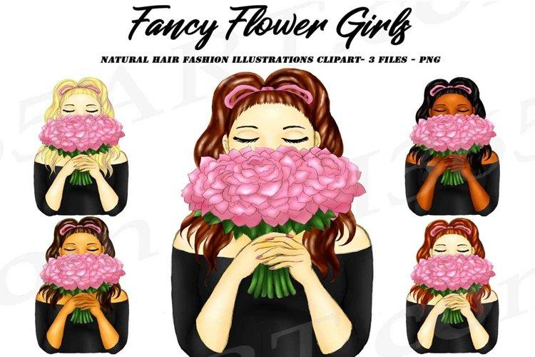 Women Holding Pink Flower Bouquet Clipart PNG