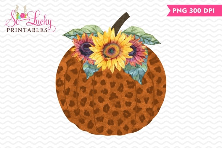 Leopard Pumpkin and Flowers sublimation example image 1