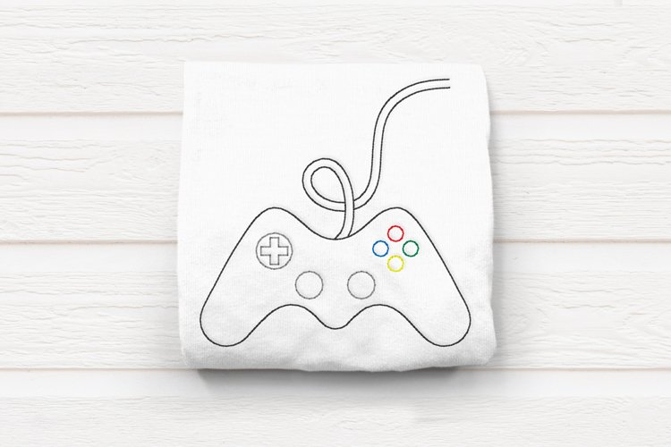 Linework Video Game Controller Embroidery Design