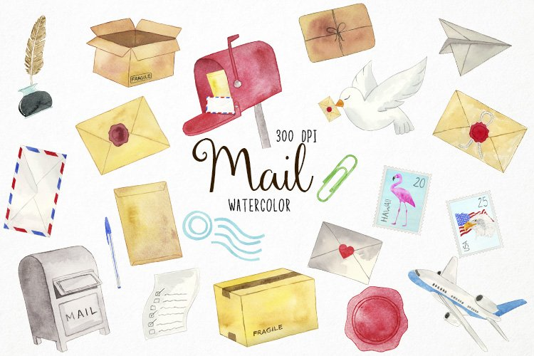 Watercolor Mail Clipart, Postage Clipart, Mail Graphics