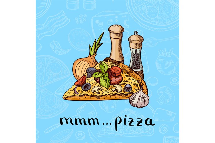 Vector colored hand drawn pizza, spices, onion and garlic pi example image 1