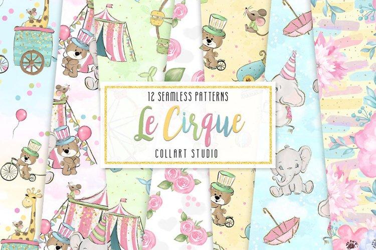 Circus digital paper, carneval paper pack, animal circus example image 1