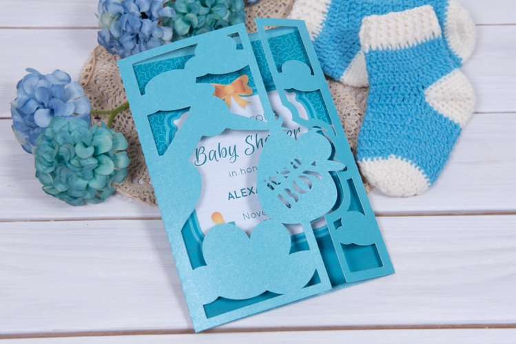 Baby Shower Invitation with a Stork, Welcome our Little Boy example image 1