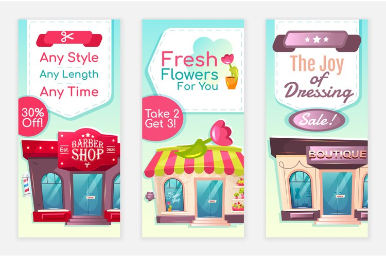 Services discount flyers flat vector templates set example image 1