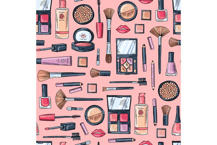 Vector hand drawn makeup products pattern example image 1