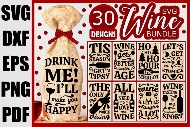Wine Bag SVG Bundle, Christmas Wine SVG files for Cricut example image 1