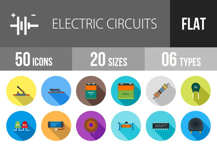 50 Electric Circuits Flat Long Shadow Icons example image 1