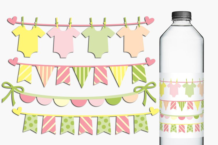 Baby clothes pennant banners clip art illustrations example image 1