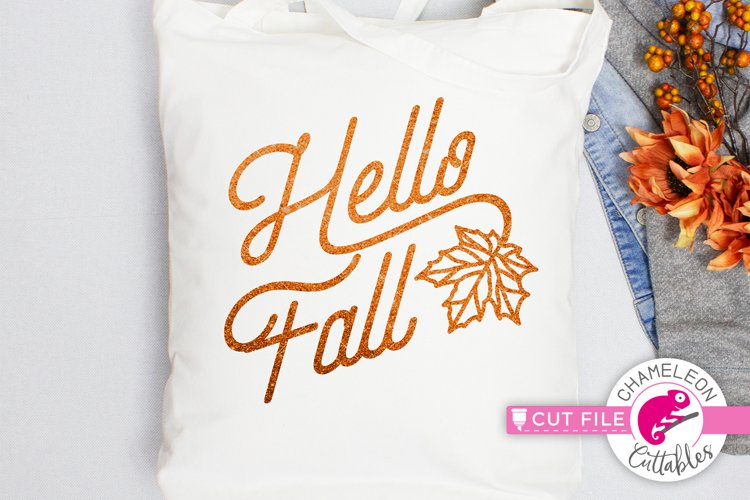 Hello Fall with Leaf svg dxf png jpeg eps
