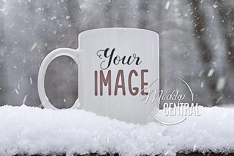 White Snow Winter Coffee Mug Glass Mock Up, JPG Cup Mockup example image 1