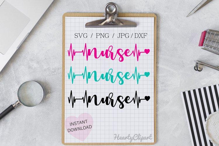 nurse svg , heartbeat design, cutting file example image 1