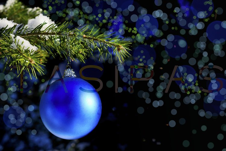 Forest Christmas tree branch with blue ornament. example image 1