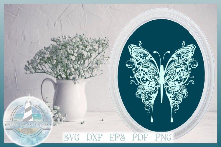 Butterfly SVG | Butterfly Mandala Zentangle SVG example image 1