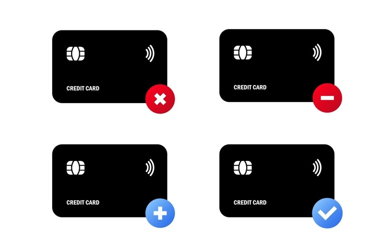 Black credit card icon set. Approved for payment. example image 1