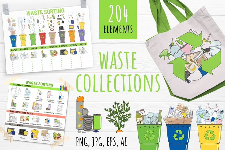 Vector collection of waste sorting clip arts, compositions example image 1