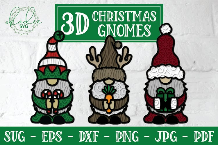 3D Christmas Gnome Bundle, Layered Gnome, 3D Gnome SVG, DXF example image 1