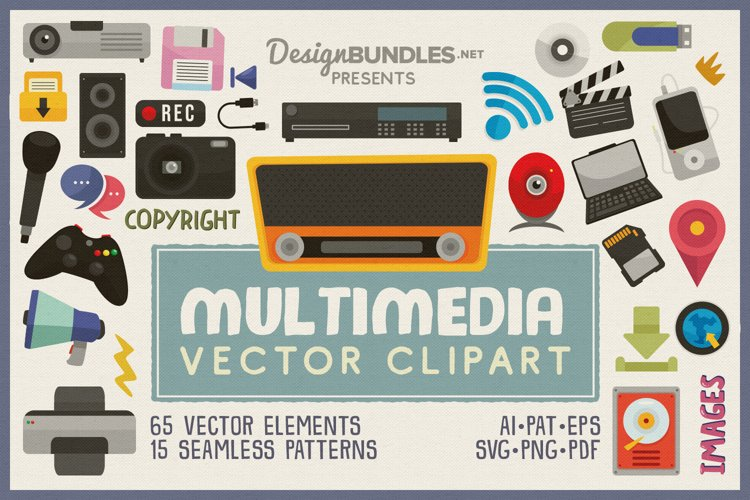 Multimedia Vector Clipart and Seamless Pattern