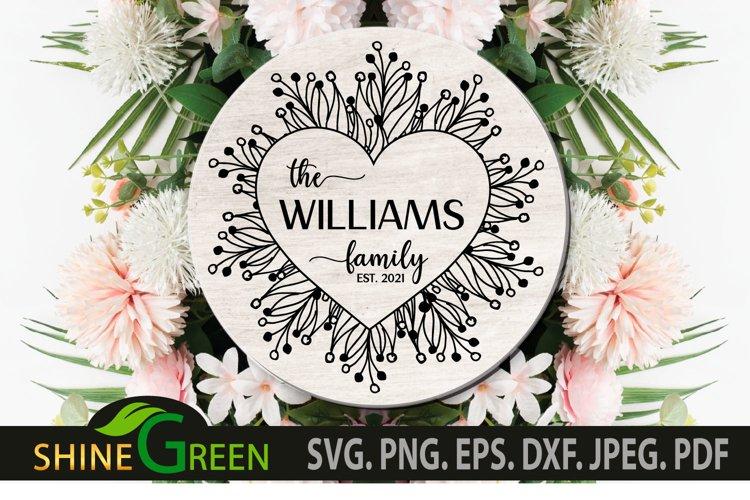Valentines SVG - Flower Heart Family Monogram Frame example image 1