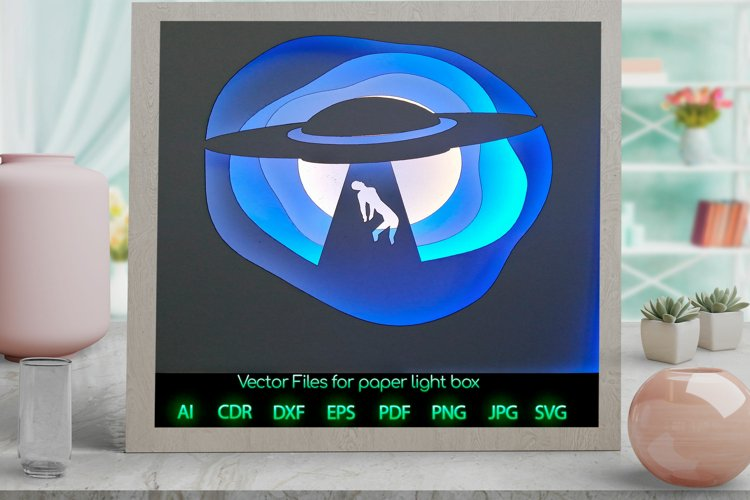 UFO Light box PNG SVG DXF CDR template Paper example image 1