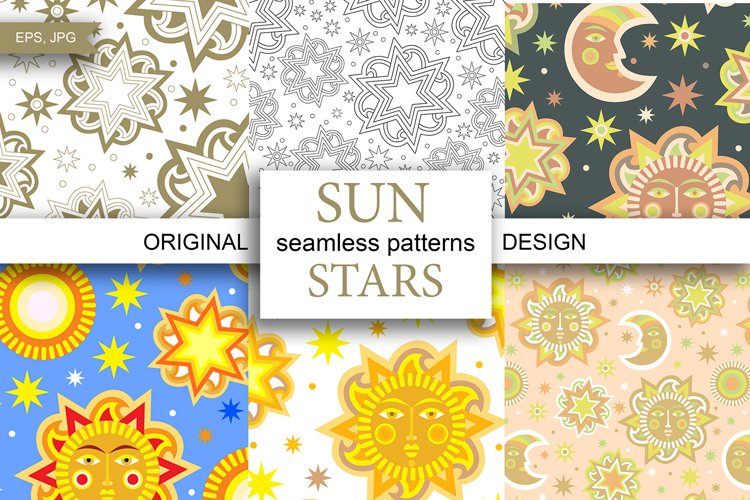 Sun and stars 12 seamless patterns example image 1