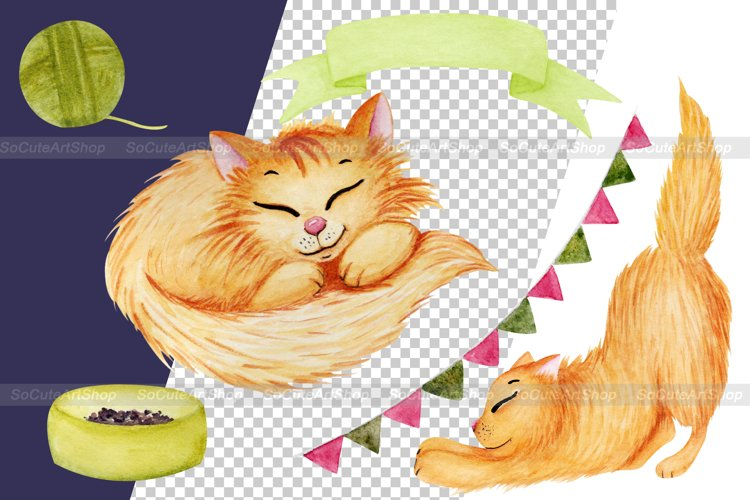 Watercolor cat clipart png, cute cat clip art, kawaii pet example 4