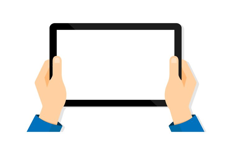 Tablet in hand. Tablet screen blank. Mobile device mockup example image 1