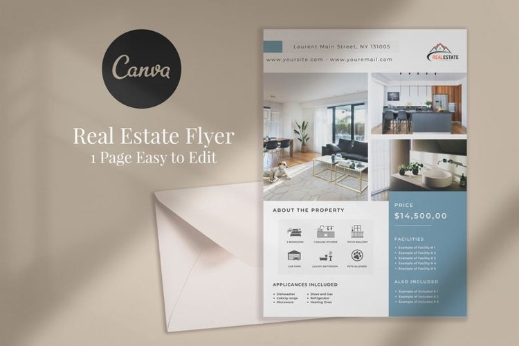 Real Estate Flyer, Canva example image 1