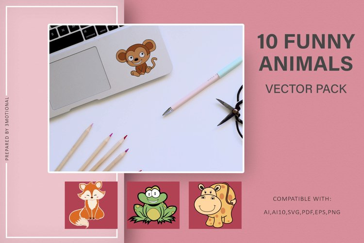 10 Funny Animals Vectors pack example image 1