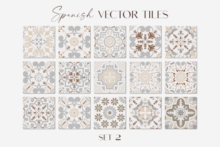 Spanish Tiles Vector Mediterranean Mosaic Set 2