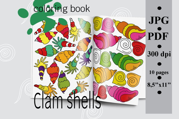 Clam shells Coloring book Printable PDF, Sea coloring pages