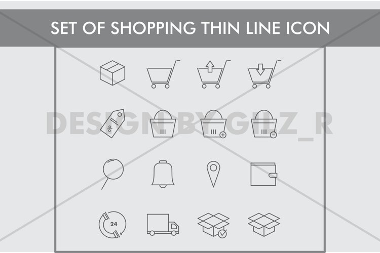 Set of  Shopping Thin Line Icons example image 1