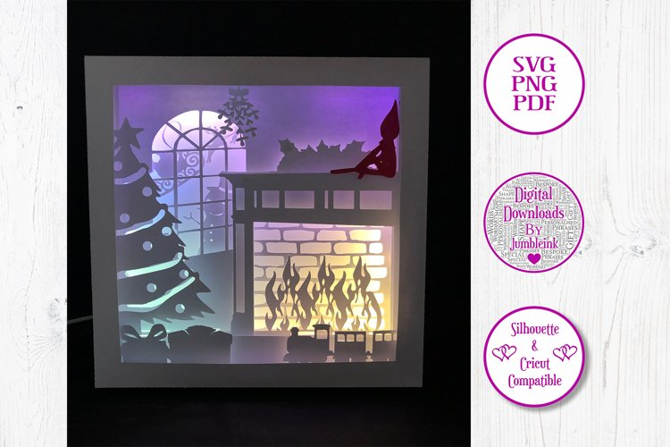 Elf on the Shelf- 3D Paper Cut Shadow Box example image 1