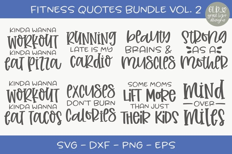 Fitness Quotes Bundle Vol. 2 - 8 Designs