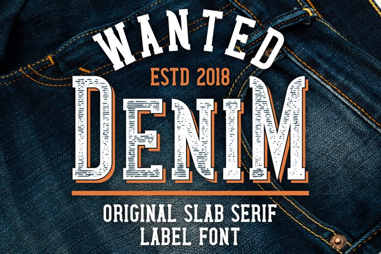 Wanted Denim layered font example image 1