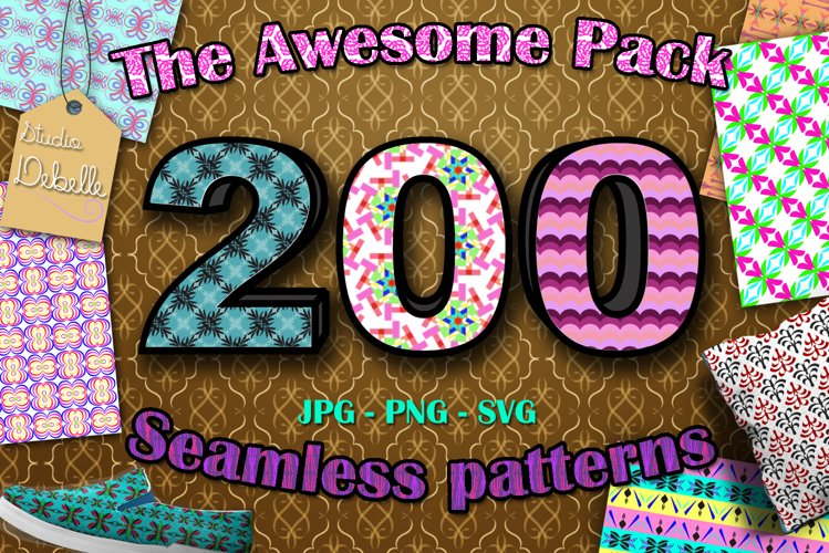 The Awesome Pack - 200 Seamless Patterns Digital Papers