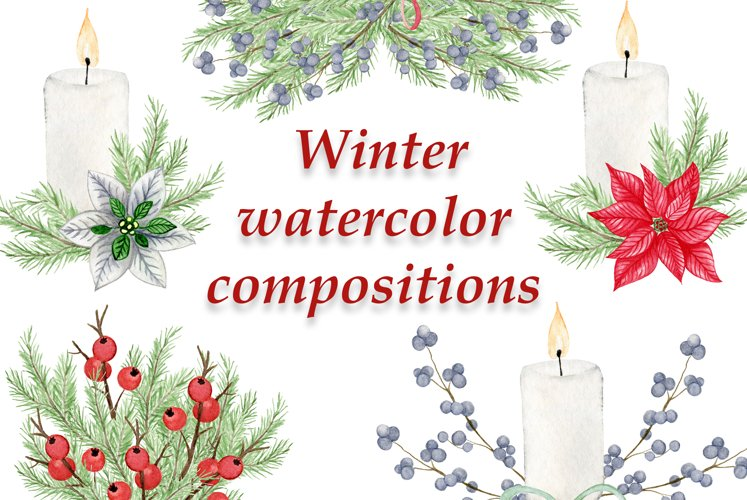 Winter watercolor clipart - 5 different compositions