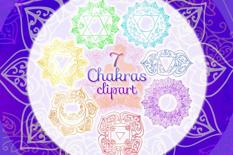 Watercolor chakras clipart 7 chakras set Yoga Meditation example image 1