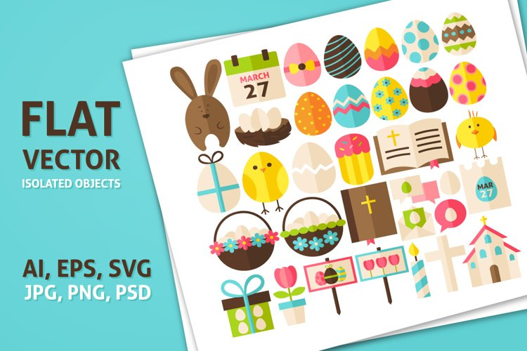 Happy Easter Vector Isolated Objects example