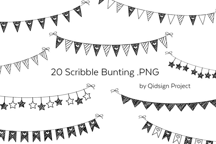 20 Scribble Bunting .PNG   Birthday Clipart example image 1