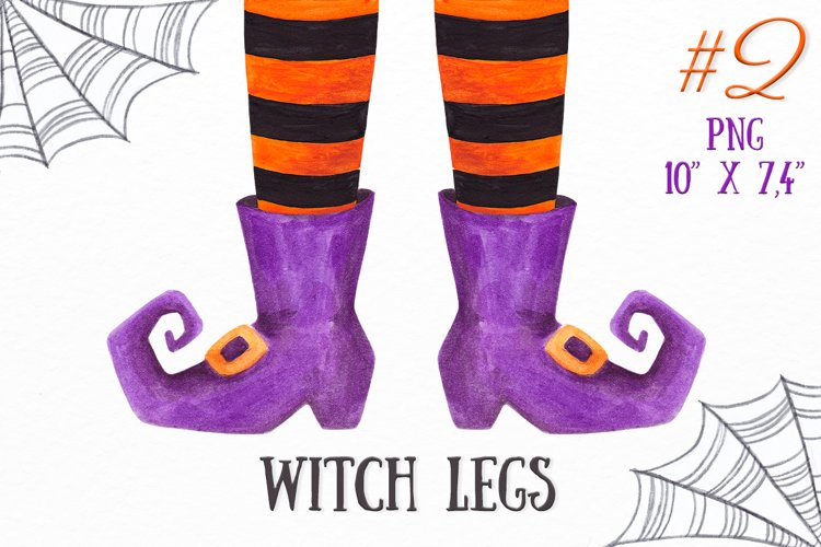 Witch legs clipart Watercolor Halloween witch feet clipart example image 1