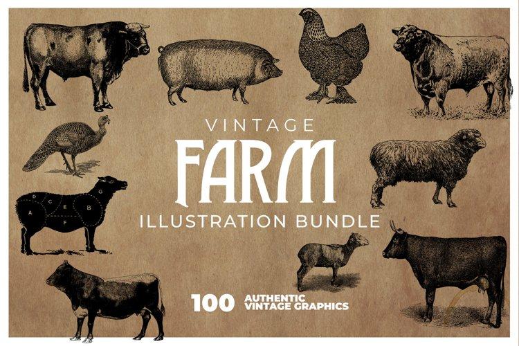 100 Vintage Farm Animal Illustrations