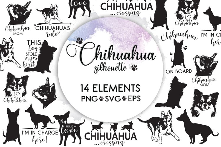 Dog Silhouette, Dog Bundle, Dog Mom Svg, Chihuahua Svg example image 1