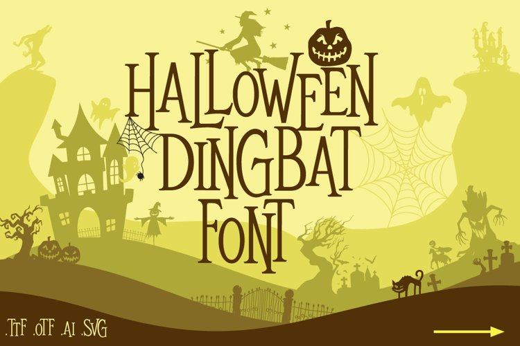 Mitoos Halloween Dingbat Font with svg file example image 1