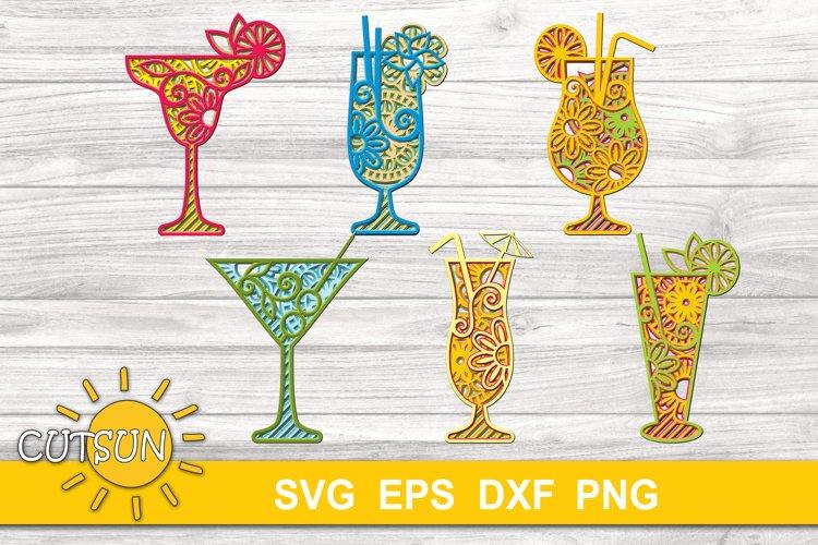 3D Layered Mandala Summer Cocktails SVG bundle cut files